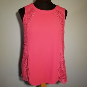 EUC pink lacy tank top